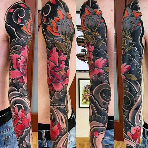 Colorful Japanese Full Sleeve Tattoos For Guys