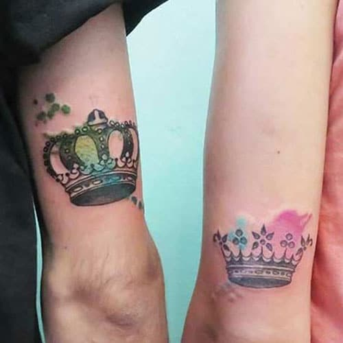 Colorful King and Queen Crown Tattoos For Relationships
