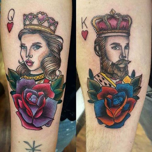 Colorful King and Queen of Heart Tattoos