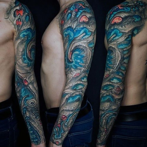 Colorful Unique Full Arm Sleeve Tattoos For Men