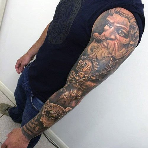 Cool 3D Portrait Sleeve Tattoos For Men