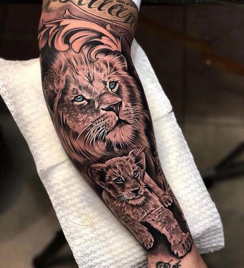 Cool Full Sleeve Lion Tattoos