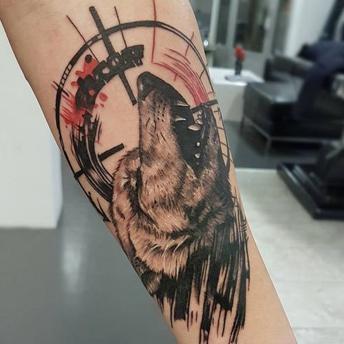 Cool Howling Wolf Tattoos For Guys