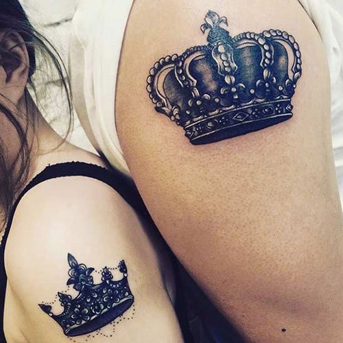 Cool King and Queen Crown Tattoos on Arm and Shoulder