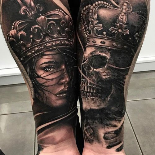 Cool King and Queen Half Sleeve Tattoos on Forearm