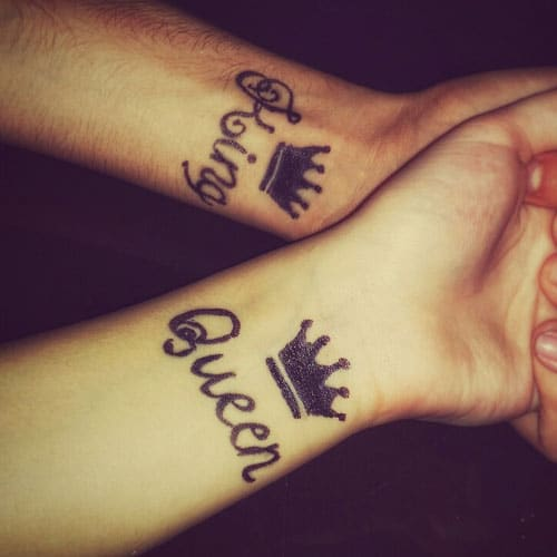 Cool King and Queen Matching Tattoos For Couples