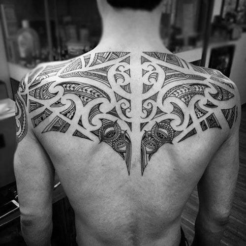 Tribal Upper Back Tattoos For Guys