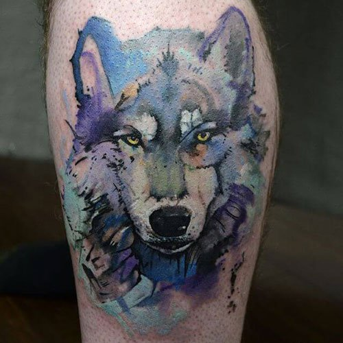 Cool Watercolor Wolf Tattoo Ideas