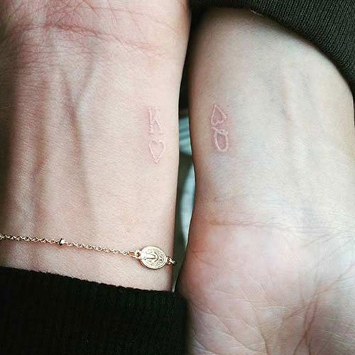 Cool White, Small and Simple King and Queen Tattoos