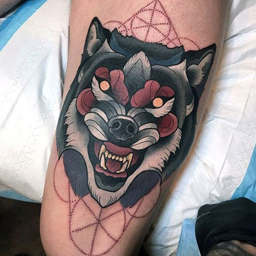 Cool Wolf Head Tattoo Designs
