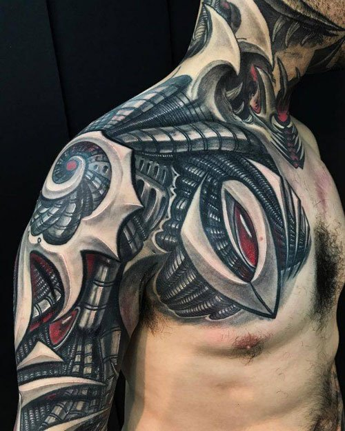 Full Arm Shoulder Chest Tattoos For Men