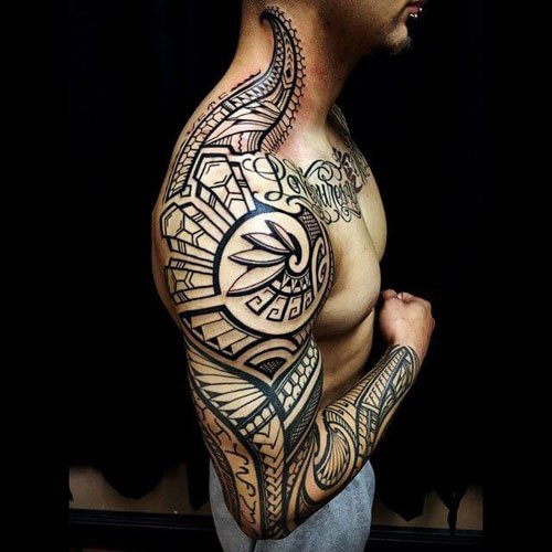 Full Arm Sleeve Tribal Tattoos