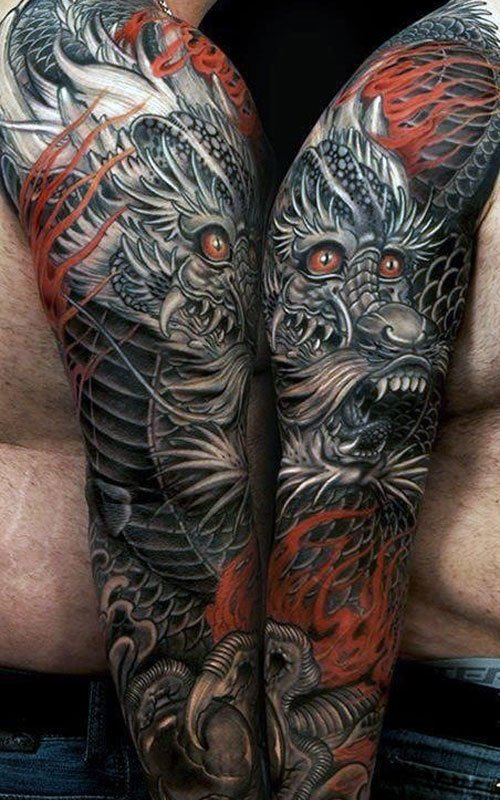 Full Sleeve Dragon Tattoo Designs