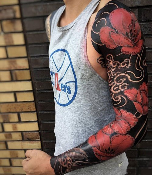 Full Sleeve Rose Tattoos For Men