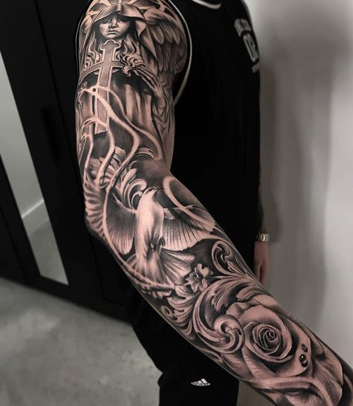 Full Sleeve Tattoos - Roses and Angels