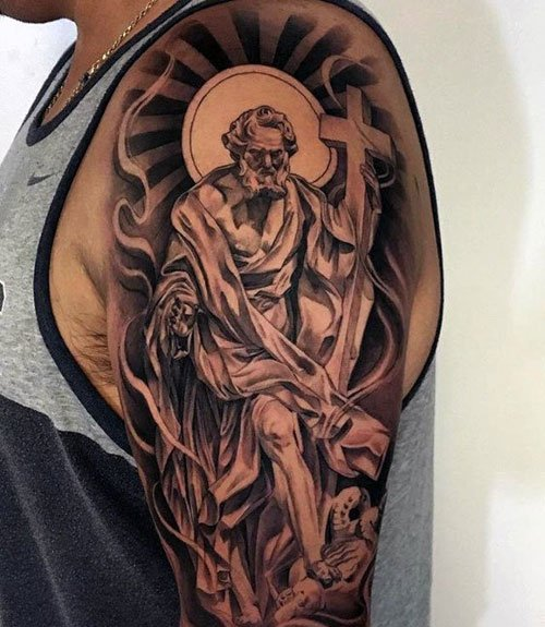 God with Cross Tattoo on Shoulder