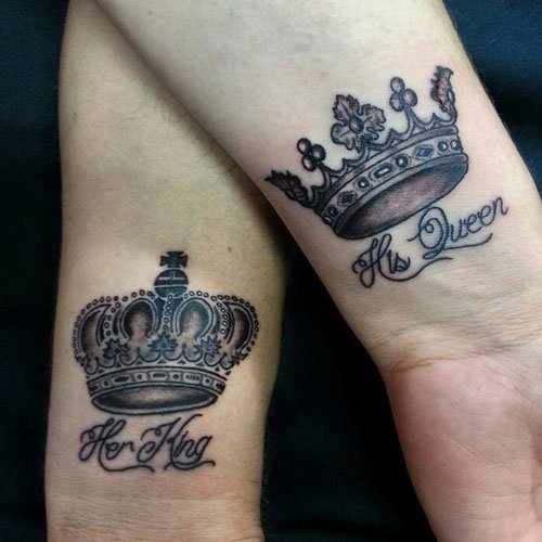 Her King His Queen Tattoos on Wrist