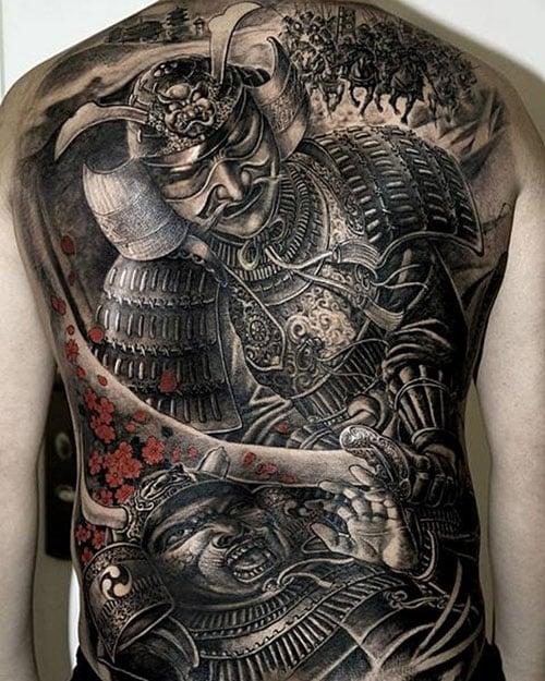 Japanese Warrior Tattoo on Back For Men