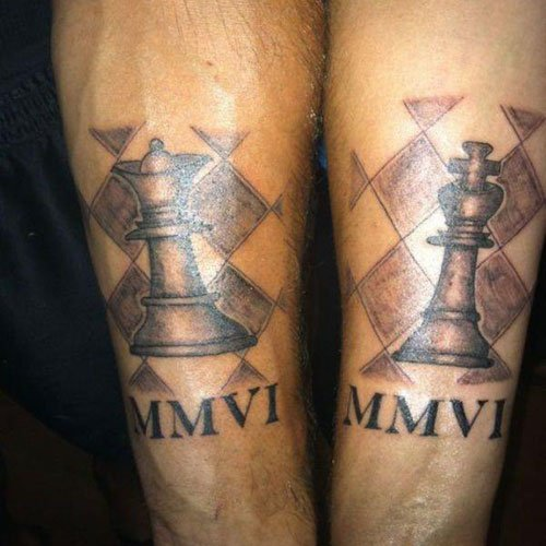 King and Queen Chess Piece Tattoos For Couples