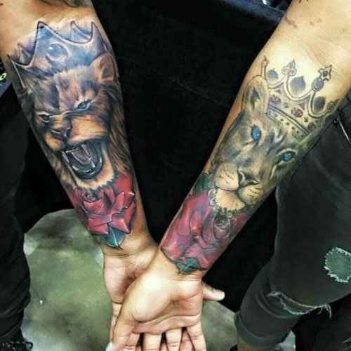 King and Queen Crown Lion Tattoos