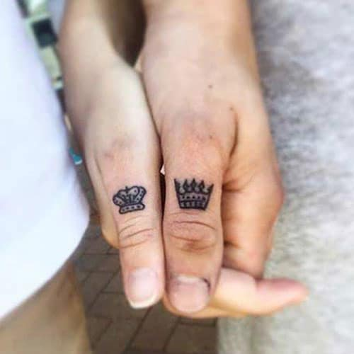 King and Queen Crown Tattoo on Finger