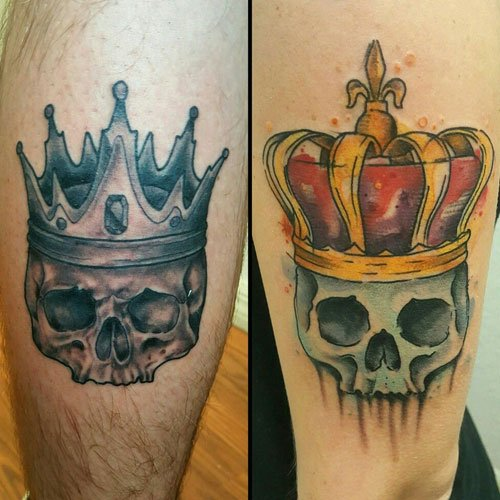 King and Queen Crown and Skull Tattoos