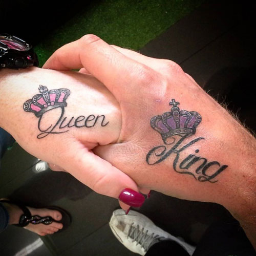 King and Queen Hand Tattoo