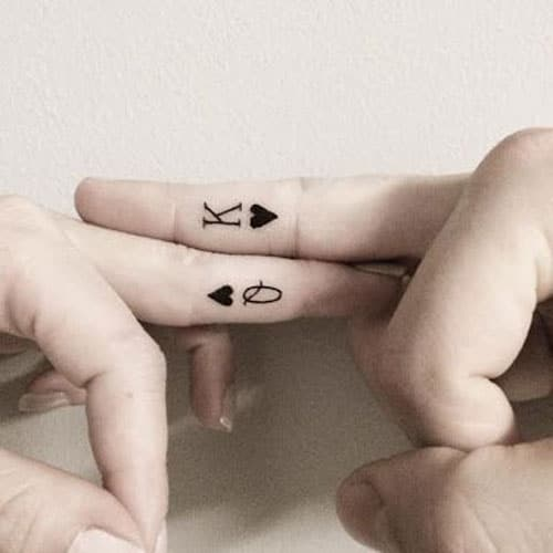 King and Queen Heart Tattoos For Couples