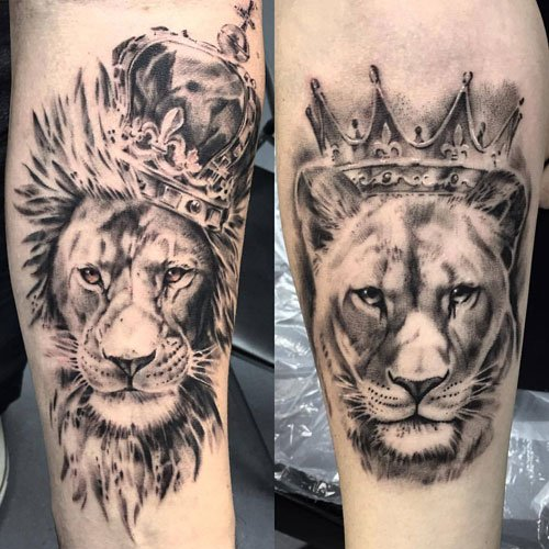 King and Queen Lion Tattoos