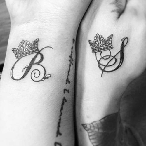 King and Queen Matching Couple Tattoos