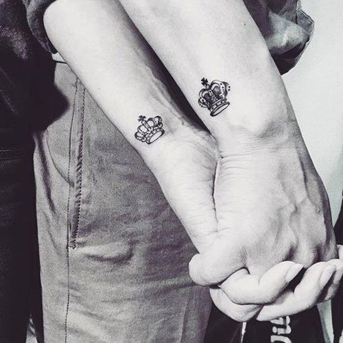 King and Queen Tattoos on Wrist For Couples