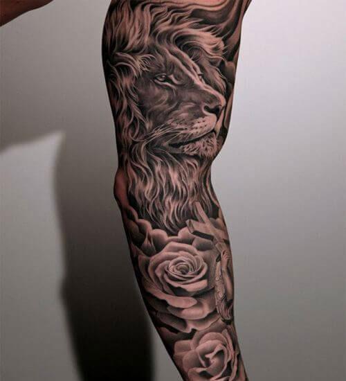 Lion Flower Rose Full Sleeve Tattoo Designs