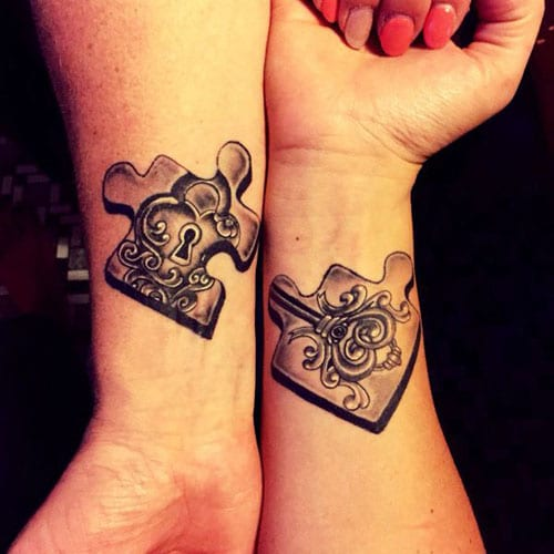 Lock and Key Matching Couple Tattoo Designs