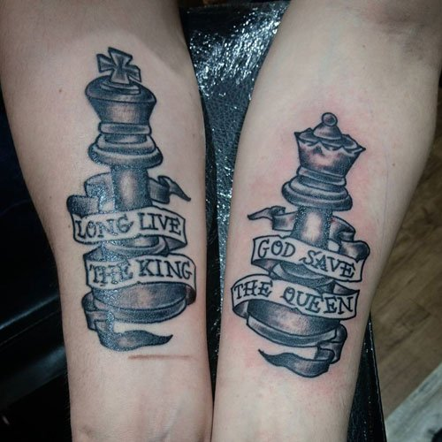 Long Live The King, God Save The Queen Chess Tattoos