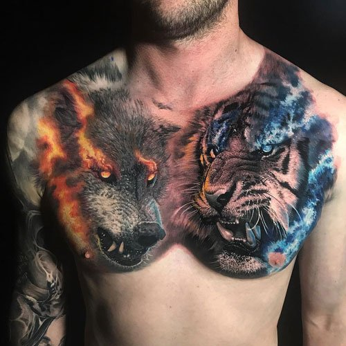 Men's Tiger Wolf Chest Tattoo