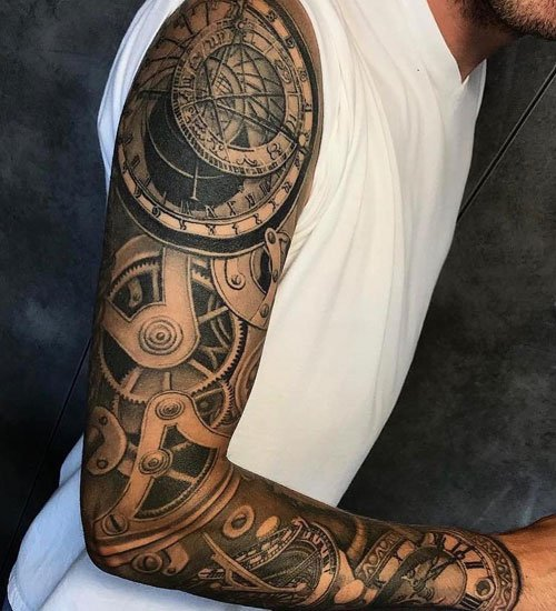 Nice 3D Full Sleeve Arm Tattoo Designs with Gears