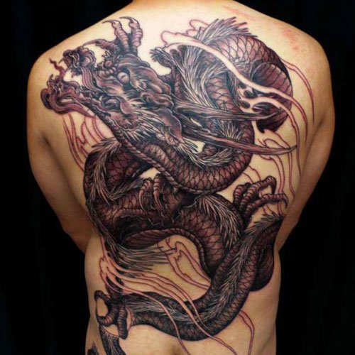 Red Chinese Dragon Tattoos