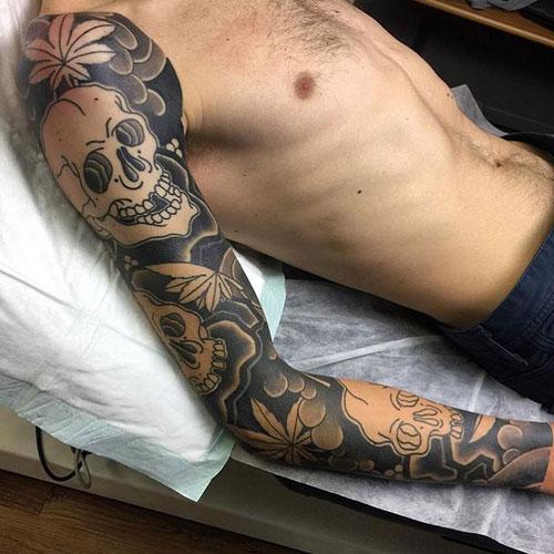 Skull Full Sleeve Tattoo Designs For Guys