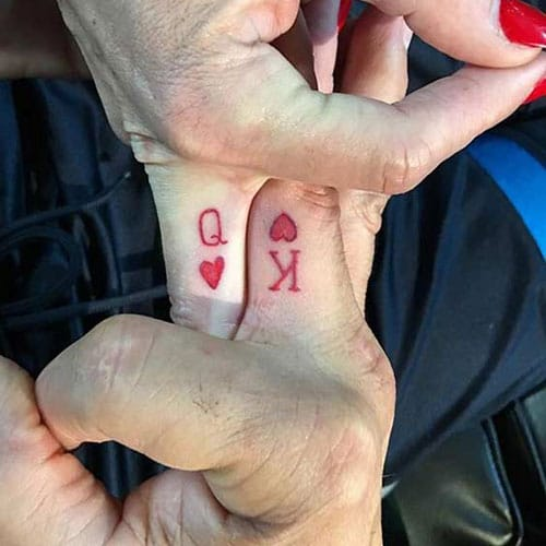 Small and Simple King and Queen Tattoo on Finger