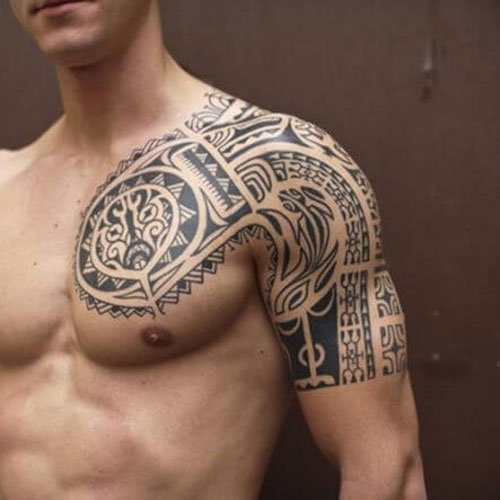 Tribal Chest Sleeve Shoulder Tattoo Designs