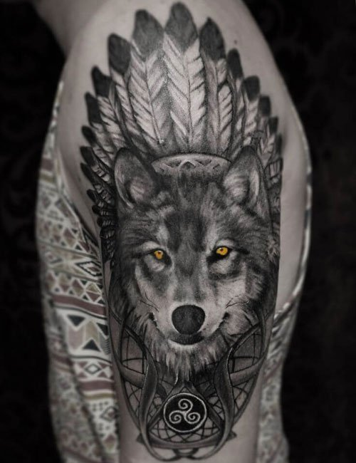 Tribal Wolf Shoulder Tattoo Designs