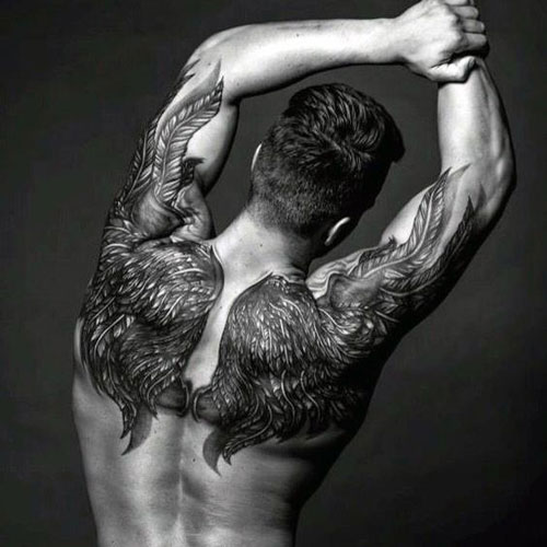 Unique Angel Wings Upper Back Tattoo Ideas