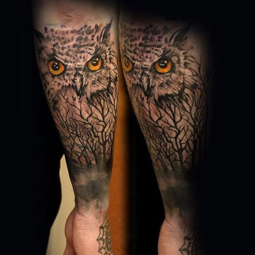 Unique Owl Arm Tattoos For Guys