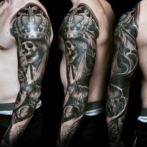 Unique Skeleton King Crown Tattoo Ideas For Men