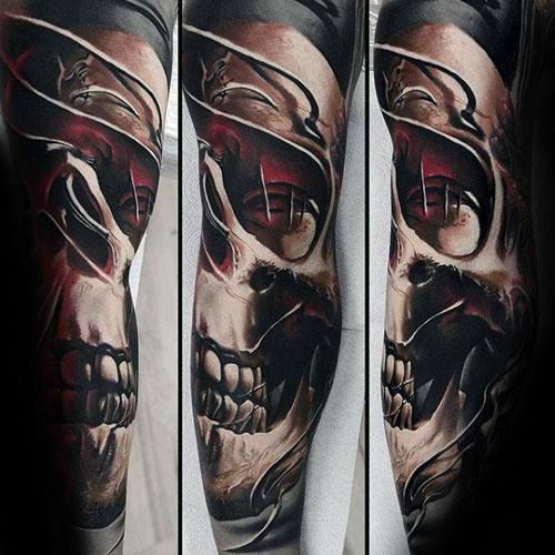Unique Skull Sleeve Tattoo Designs