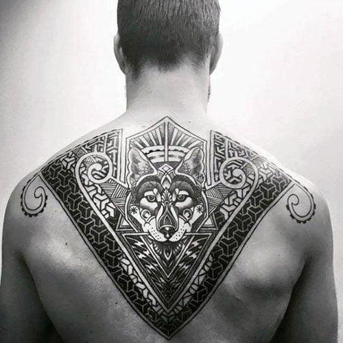 Wolf Upper Back Tattoos For Men