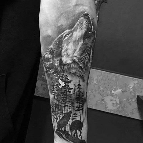 Wolf Howling At The Moon Tattoo