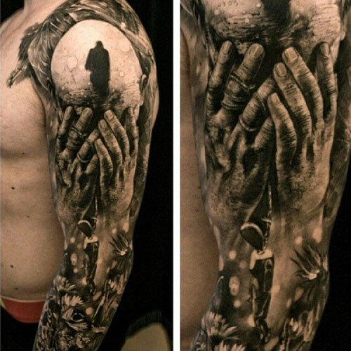 Awesome Full Sleeve Portrait Arm Tattoo Designs
