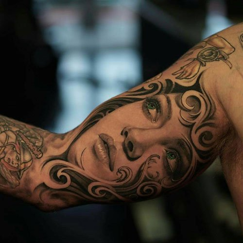 Awesome Inner Bicep Arm Tattoos