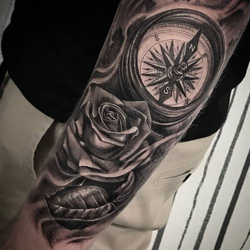 Awesome Rose Compass Arm Tattoo Designs